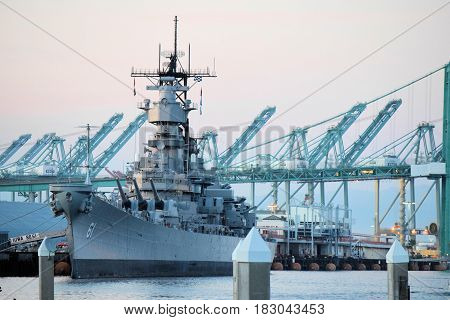 March 9, 2017 in San Pedro, CA:  USS Iowa Battleship docked at the San Pedro Harbor which is now a museum where people can tour this historic naval ship open daily