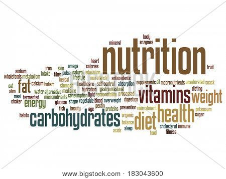 Conceptual nutrition health or diet abstract word cloud isolated on background