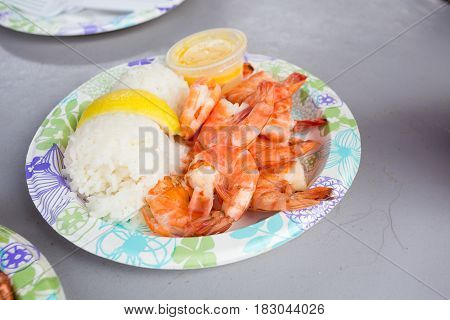 Plate lunch of Hawaiian Kahuku shrimp from a food truck on the island of Oahu Hawaii.