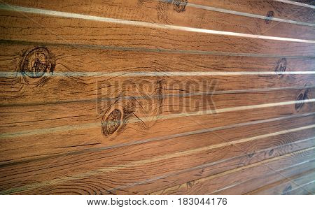 Wooden texture background in perspective. Wall closeup with glowing lines
