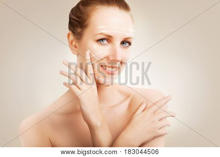 skin surgery - woman portrait with marks