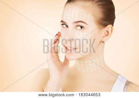 blond model portrait with skin surgery marks isolated