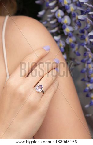 Wisteria. Hand Girl With Ring. Spring. Woman. Ring.