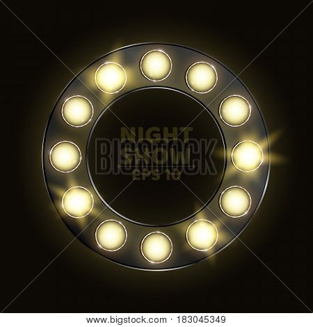 A realistic circle in retro style with shining light bulbs. Round banner for different shows and performances. Vector illustration. EPS 10