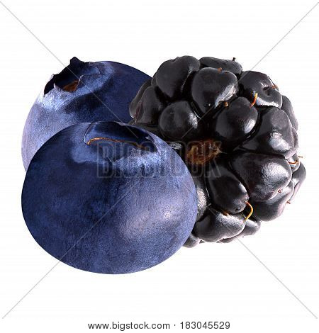 Isolated berries. Blueberries and blackberry isolated on white background as package design element. Healthy eating.