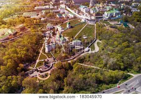 Panoramic view of Kiev Pechersk Lavra at spring. Aerial view. General view of the city and the Dnipro river.