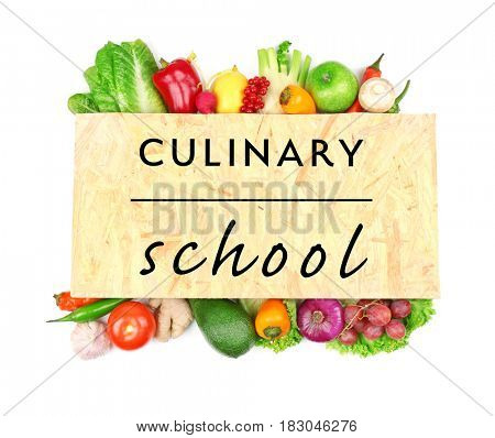 Culinary school concept. Wooden board with ingredients on white background