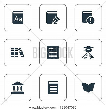 Vector Illustration Set Of Simple Education Icons. Elements Bookshelf, Graduation Hat, Reading And Other Synonyms Building, Encyclopedia And Important.