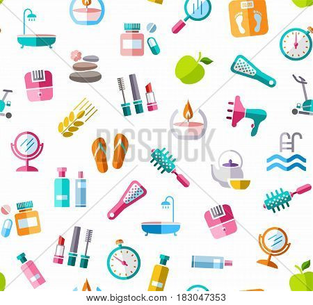 Beauty and health, background, seamless, color, white, vector. Care for body and face. Colored icons on white background. Flat, vector clip art. Seamless vector background.