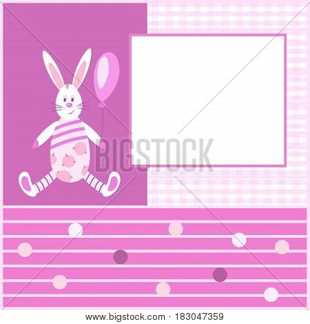 Beautiful pink card with a Bunny holding a balloon.Pattern checkered and stripedcircle.Suitable for congratulations on the birth of a girl and other holidays.
