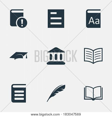 Vector Illustration Set Of Simple Books Icons. Elements Blank Notebook, Alphabet, Encyclopedia And Other Synonyms Plume, Reading And Dictionary.