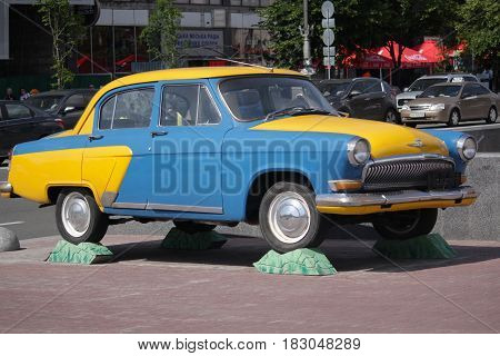 Kiev Ukraine - May 27 2016: Retro Soviet car GAZ-21 Volga is shown on the street Khreschatyk