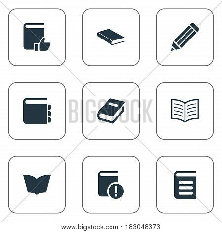 Vector Illustration Set Of Simple Reading Icons. Elements Notebook, Journal, Book Page And Other Synonyms Reading, Important And Page.