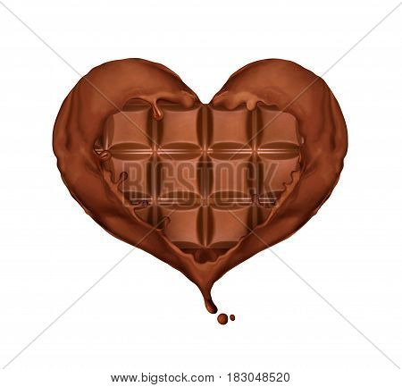 Splashes of chocolate in the shape of the heart wrap the chocolate bar on white background