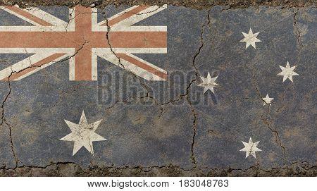 Old Grunge Vintage Faded Flag Of Australia