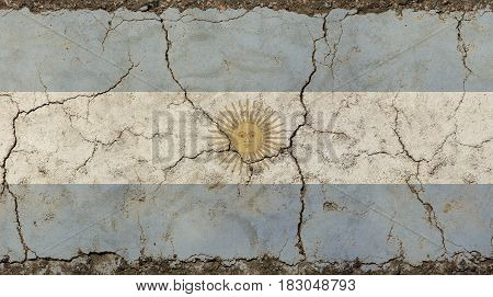 Old Grunge Faded Vintage Argentine Republic Flag