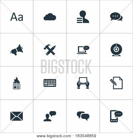 Vector Illustration Set Of Simple Newspaper Icons. Elements Laptop, E-Letter, Document And Other Synonyms Profit, Earnings And Keypad.