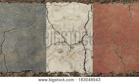 Old Grunge Vintage Faded France Republic Flag