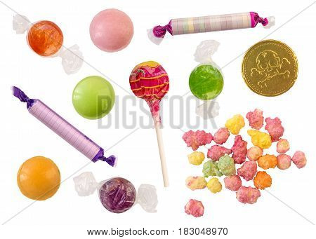 Isolated Collection Of Retro British Sweets (Candy)