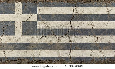 Old Grunge Vintage Faded Flag Of Greece