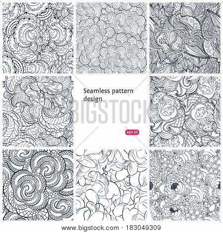 Floral seamless vintage pattern set. Vector background collection.