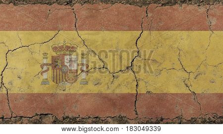Old Grunge Vintage Faded Kingdom Of Spain Flag