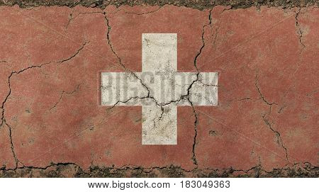 Old Grunge Vintage Faded Swiss Confederation Flag