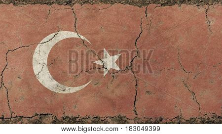 Old Grunge Vintage Faded Republic Of Turkey Flag
