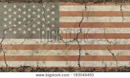 Old Grunge Vintage Faded American Us Flag