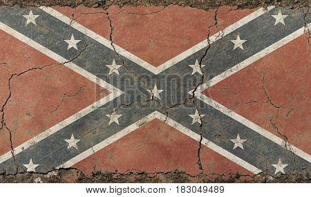 Old Grunge Vintage American Us Confederate Flag