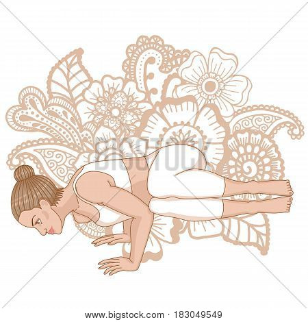Women silhouette. Side Crane Crow Yoga Pose. Parsva Bakasana Vector illustration.