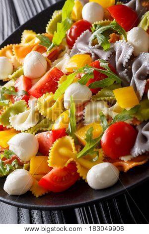 Warm Salad Of Farfalle Pasta, Tomatoes, Arugula And Mozzarella Closeup. Vertical