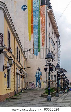 BELGRADE SERBIA - MARCH 18 2017: Painted building on a pedestrian street in downtown Belgrade.