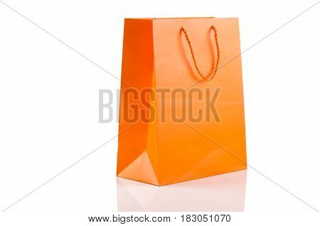 Orange Paper Bag Isolated On White Diagonal Angle