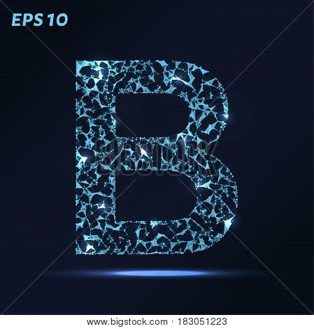 The Letter B Consists Of Points, Lines And Triangles. Vector Illustration.