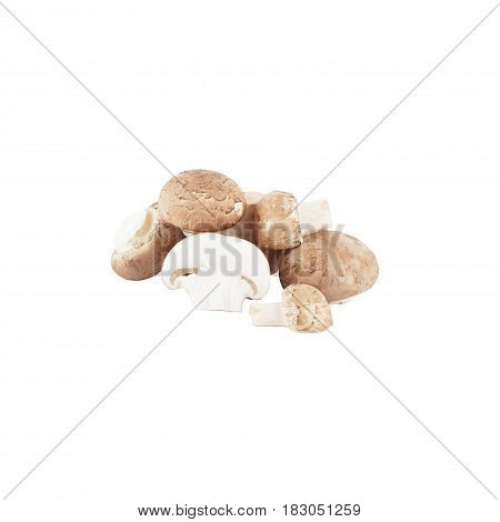 Heap Of Raw White Champignons, Isolated