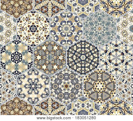 Vector Set Of Hexagonal Patterns.