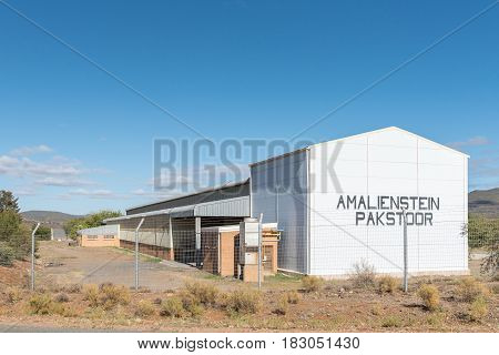 AMALIENSTEIN SOUTH AFRICA - MARCH 25 2017: A fruit packing shed in Amalienstein a village in the Western Cape Province