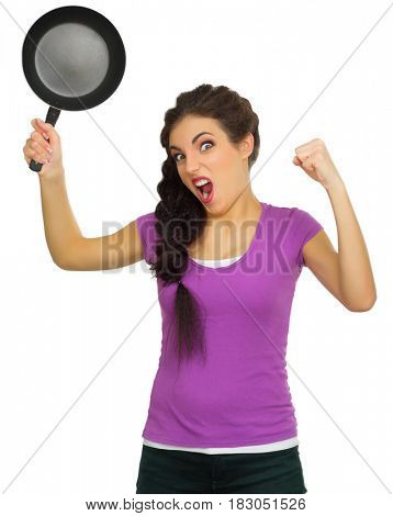 Young angry woman with pan isolated on white