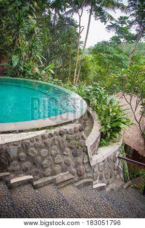 Beautiful hotel pool in Bali Indonesia, Ubud