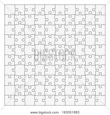 Simple Classic puzzle with symmetrical elements, 10x10 pieces. Easy to remove separate pieces. Vector illustration