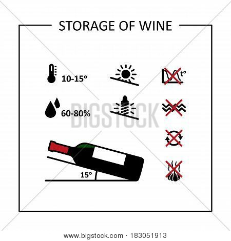 Conditions of long-term storage of wine. Icons set. Vector illustration