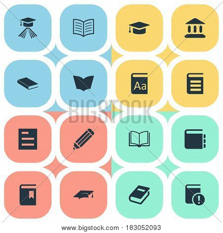 Vector Illustration Set Of Simple Knowledge Icons. Elements Book Page, Alphabet, Notebook And Other Synonyms Notebook, Cap And Note.