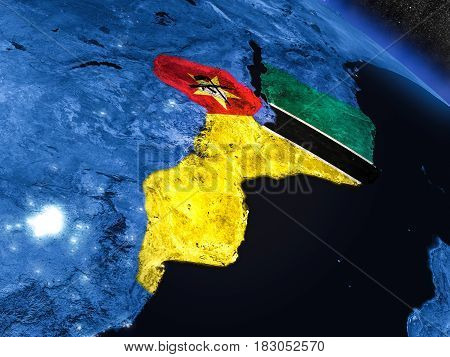 Mozambique With Embedded Flag From Space