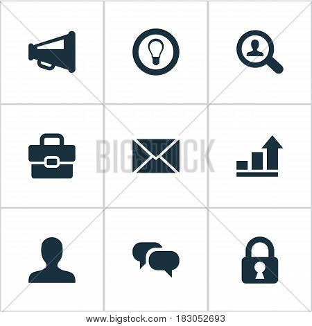 Vector Illustration Set Of Simple Job Icons. Elements Magnifier, Anonymous, Bulb And Other Synonyms Protected, Chatting And Distribution.