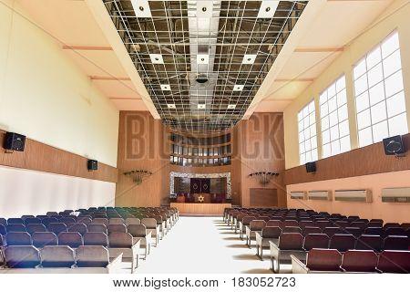 Havana Cuba - Jan 15 2017: Temple Beth Shalom built in 1952 is a synagogue located in the Vedado neighborhood of downtown Havana Cuba.