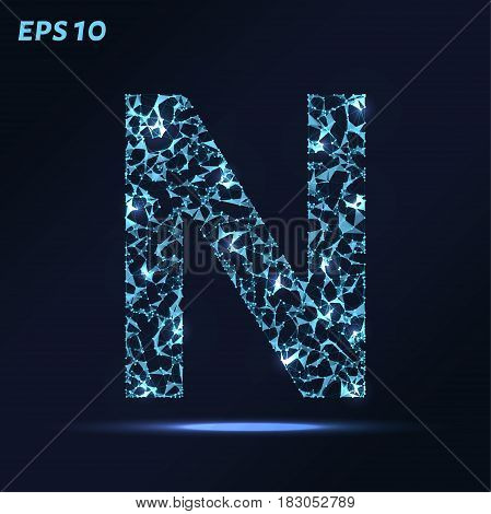 The Letter N Consists Of Points, Lines And Triangles. Vector Illustration.