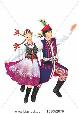 Dancing Krakowiacy Isolated on White Illustration. Subethnic Group of the Polish Nation. Folk Dancers.