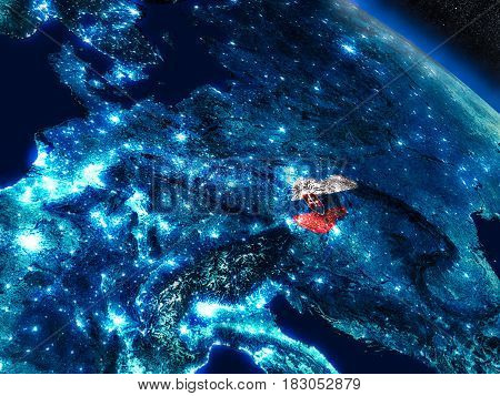 Slovakia With Embedded Flag From Space