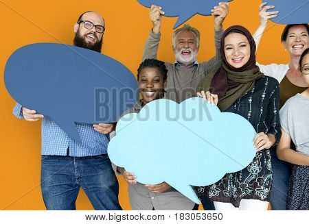 Group of Diverse People Holding Blank Speech Bubbles